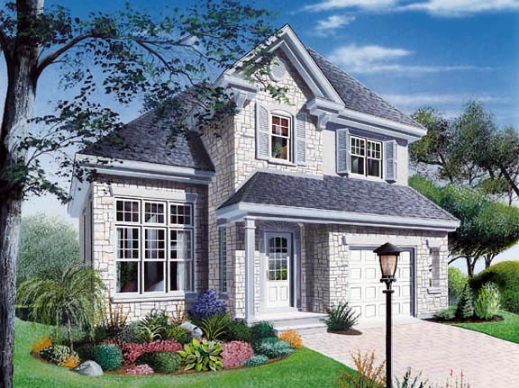 Traditional , Country House Plan 65171 with 3 Beds, 2 Baths, 1 Car Garage Elevation