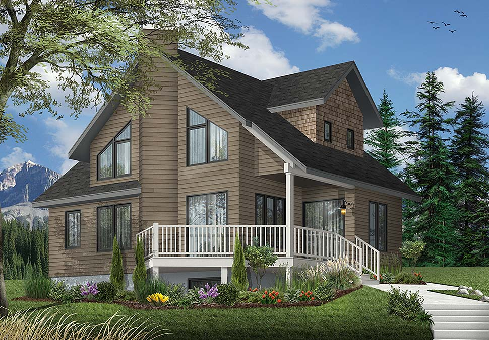 Contemporary , Country House Plan 65173 with 2 Beds, 2 Baths Elevation
