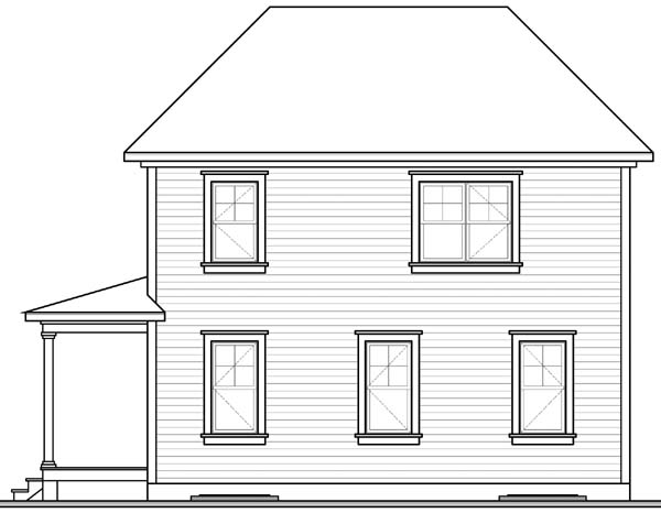 Colonial Southern Rear Elevation of Plan 65175