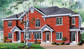 Colonial Multi-Family Plan 65180 with 8 Beds, 4 Baths Elevation