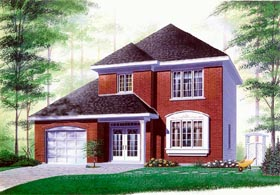 Colonial House Plan 65185 with 3 Beds, 2 Baths, 1 Car Garage Elevation