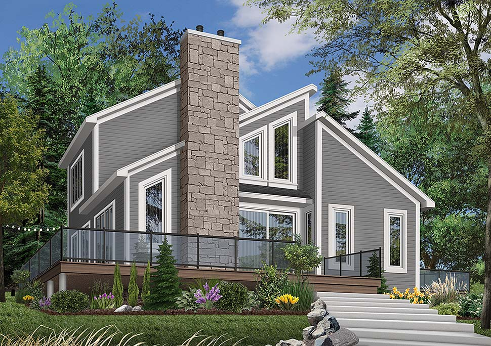 House Plan 65195 | Contemporary Craftsman Style Plan with 1516 Sq Ft, 3 Bedrooms, 2 Bathrooms Elevation