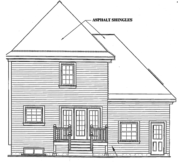 Victorian Rear Elevation of Plan 65196