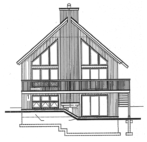 Contemporary, Craftsman House Plan 65207 with 3 Beds, 2 Baths Rear Elevation