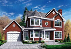 House Plan 65208 | Country Farmhouse Victorian Style Plan with 1903 Sq Ft, 3 Bedrooms, 3 Bathrooms, 1 Car Garage Elevation