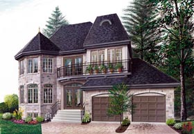 European , Victorian House Plan 65210 with 3 Beds, 3 Baths, 2 Car Garage Elevation