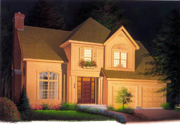 Traditional House Plan 65224 with 4 Beds, 3 Baths, 2 Car Garage Elevation