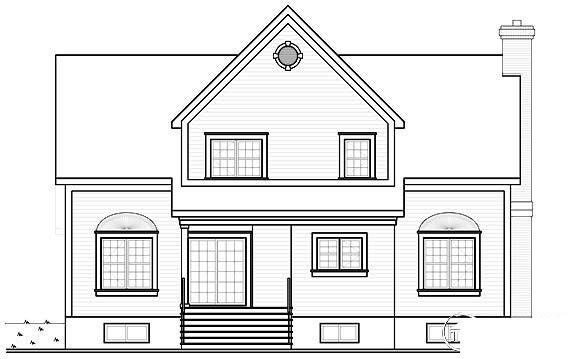Traditional Rear Elevation of Plan 65224