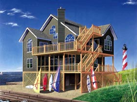 House Plan 65235 | Coastal Style Plan with 2392 Sq Ft, 5 Bedrooms, 4 Bathrooms Elevation