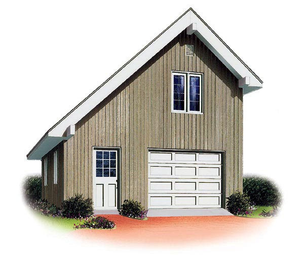 1 1 2 Story Two Car Garage With Apartment: Saltbox Style 1 Car Garage Plan 65238