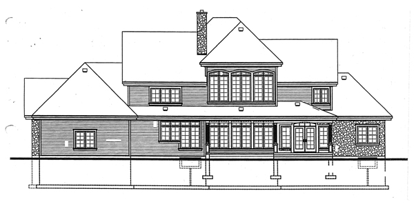 European, Traditional House Plan 65240 with 5 Beds, 4 Baths Rear Elevation