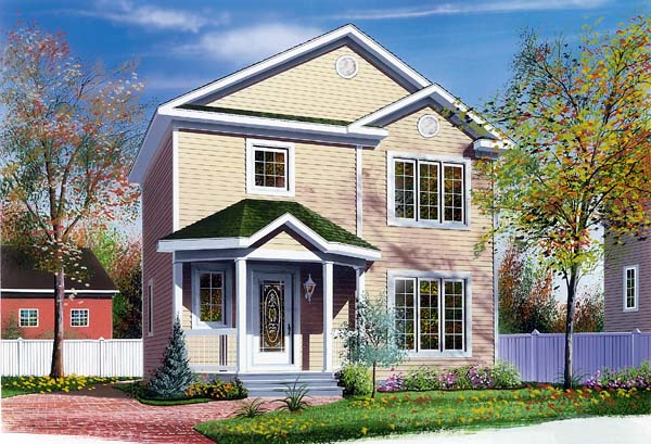 Colonial, Narrow Lot House Plan 65242 with 3 Beds , 2 Baths Elevation