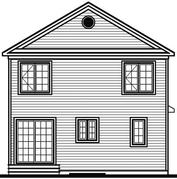 Colonial, Narrow Lot House Plan 65242 with 3 Beds , 2 Baths Rear Elevation