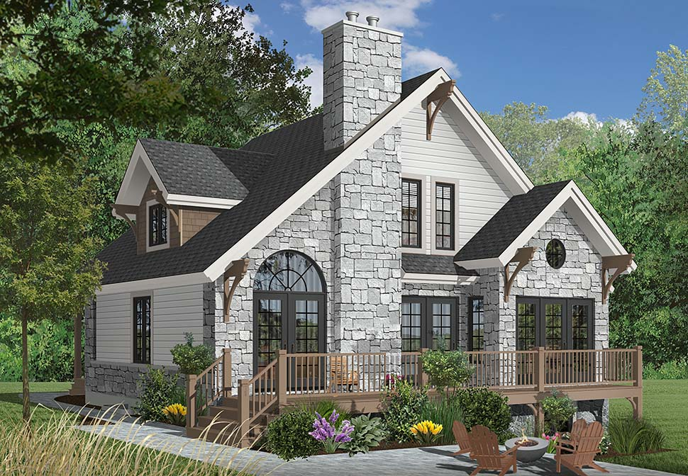 Bungalow, Cottage, Country, Craftsman House Plan 65246 with 3 Beds, 2 Baths Rear Elevation