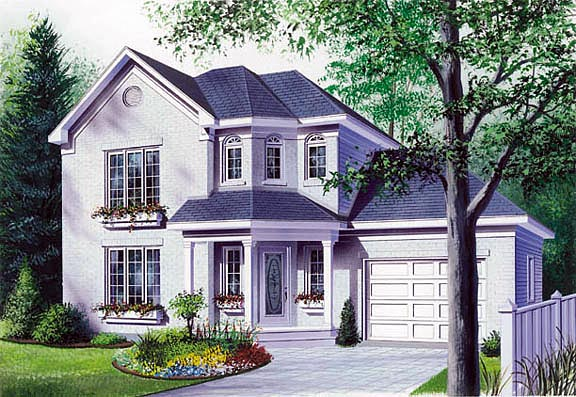 European, Victorian House Plan 65248 with 3 Beds, 2 Baths, 2 Car Garage Elevation