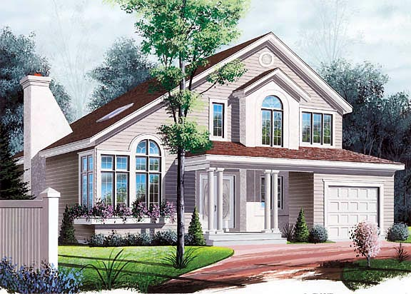 House Plan 65253 | Contemporary European Style Plan with 2089 Sq Ft, 3 Bedrooms, 2 Bathrooms, 1 Car Garage Elevation