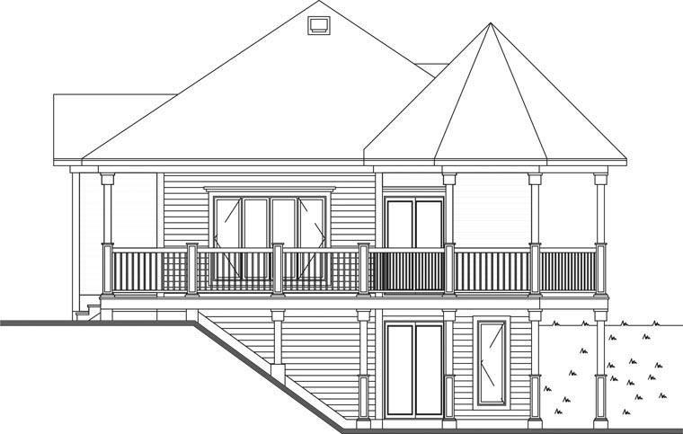 Bungalow Cabin Coastal Country Victorian House Plan 65263 Rear Elevation