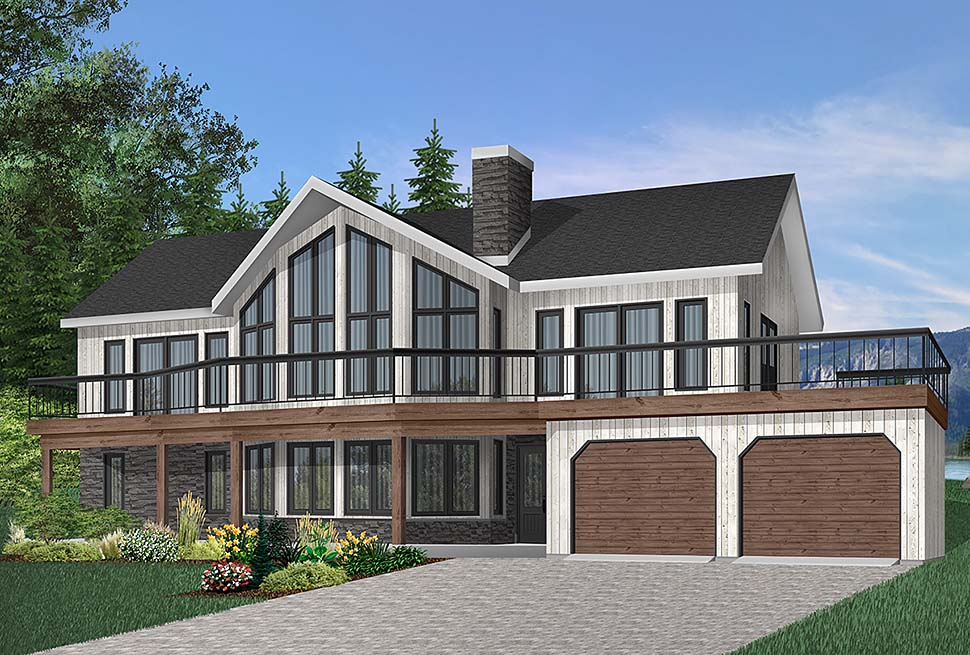 Contemporary, Craftsman House Plan 65269 with 4 Beds, 3 Baths, 2 Car Garage Front Elevation