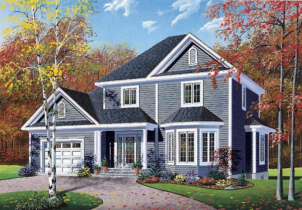 House Plan 65274 | Colonial Southern Style Plan with 1498 Sq Ft, 3 Bedrooms, 2 Bathrooms, 1 Car Garage Elevation