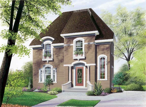 Colonial , European House Plan 65276 with 3 Beds, 2 Baths Elevation