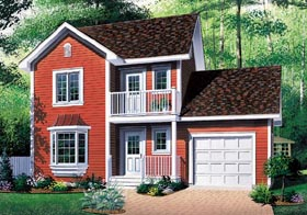 Traditional House Plan 65279 with 3 Beds, 2 Baths, 1 Car Garage Elevation