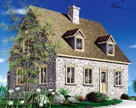 Bungalow , Cape Cod House Plan 65281 with 2 Beds, 3 Baths Elevation
