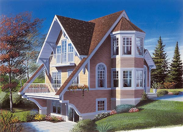 Contemporary, Victorian House Plan 65284 with 2 Beds, 2 Baths Front Elevation