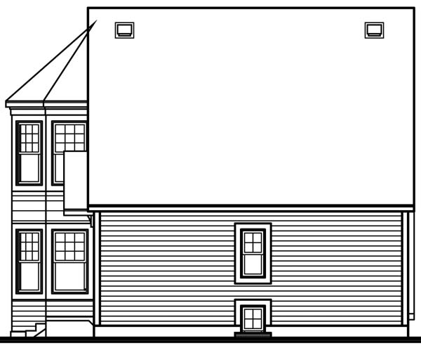 Contemporary, Victorian House Plan 65284 with 2 Beds, 2 Baths Rear Elevation