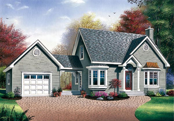 House Plan 65285 | Bungalow Cape Cod Style Plan with 1350 Sq Ft, 2 Bedrooms, 2 Bathrooms Elevation