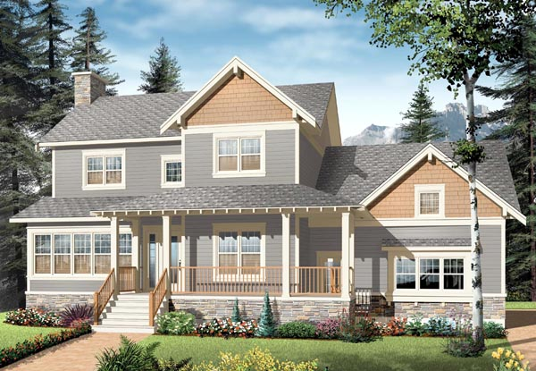 Country Craftsman Farmhouse House Plan 65290 Elevation