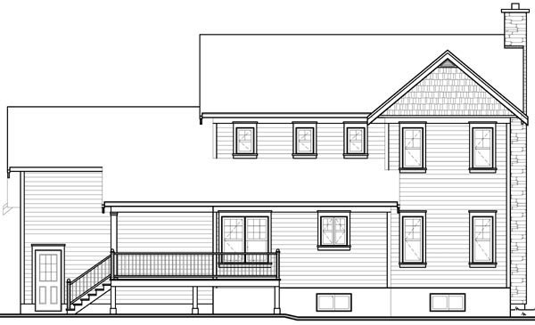 Country Craftsman Farmhouse House Plan 65290 Rear Elevation