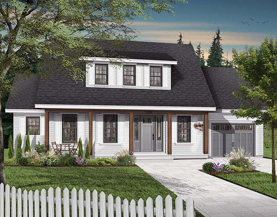 Cape Cod, Country House Plan 65308 with 3 Beds, 3 Baths, 1 Car Garage Elevation