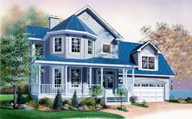 Victorian , Traditional , Southern , Country House Plan 65309 with 3 Beds, 3 Baths, 2 Car Garage Elevation