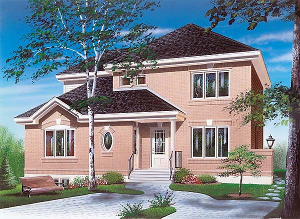 Colonial House Plan 65310 with 4 Beds, 3 Baths Elevation