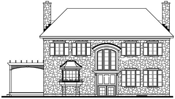Rear Elevation of Plan 65320