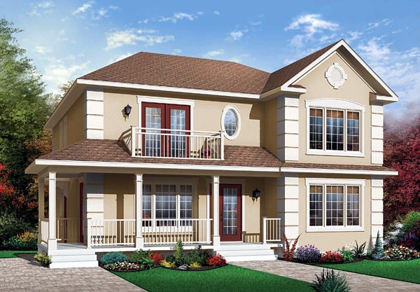Narrow Lot, Traditional Multi-Family Plan 65338 with 6 Beds, 2 Baths Front Elevation