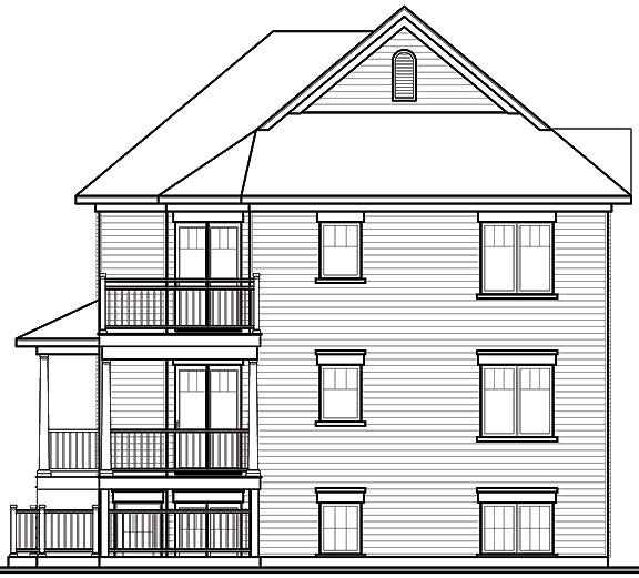 Traditional Multi-Family Plan 65340 Rear Elevation
