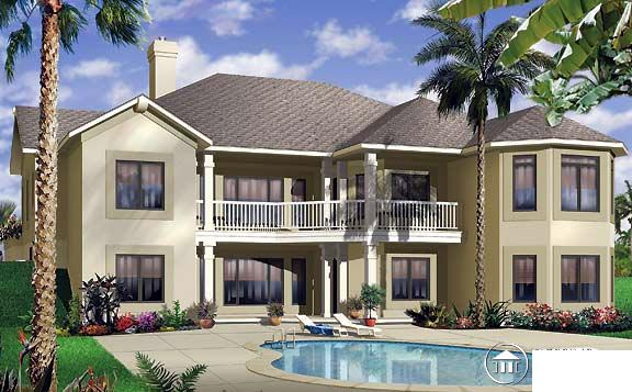 House Plan 65341 | Florida Style Plan with 2620 Sq Ft, 3 Bedrooms, 3 Bathrooms, 3 Car Garage Rear Elevation