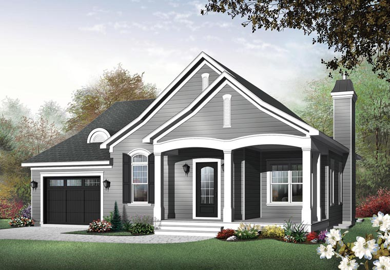 Traditional House Plan 65344 with 2 Beds, 2 Baths, 1 Car Garage Elevation