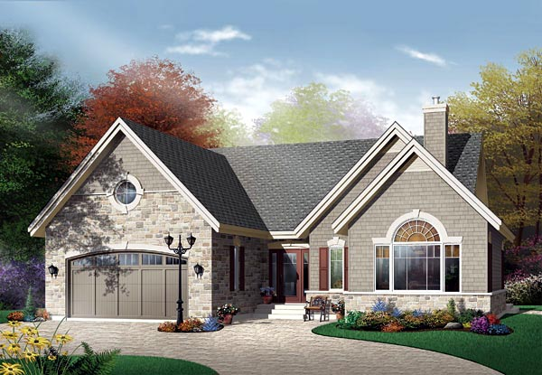 One-Story, Traditional House Plan 65346 with 2 Beds, 1 Baths, 2 Car Garage Elevation