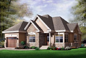Traditional House Plan 65347 with 2 Beds, 1 Baths, 1 Car Garage Elevation