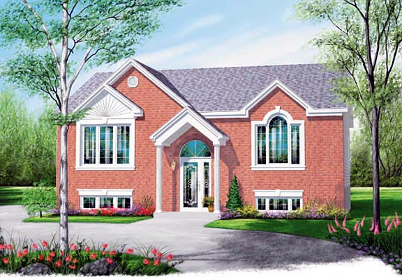 Colonial, Narrow Lot, One-Story House Plan 65349 with 2 Beds, 1 Baths Elevation