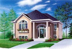 Colonial , Narrow Lot , One-Story House Plan 65350 with 3 Beds, 1 Baths Elevation