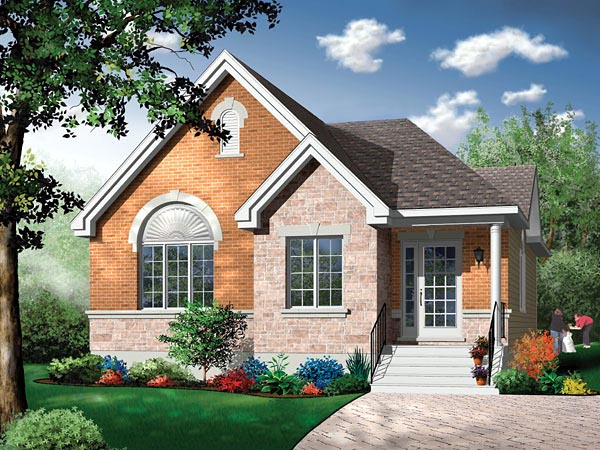 Narrow Lot , One-Story , Traditional , Elevation of Plan 65351