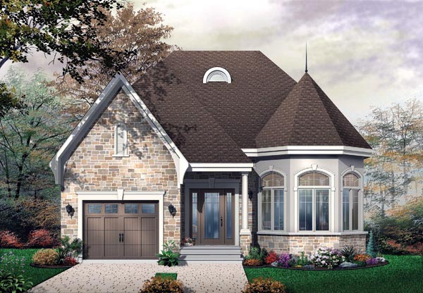Narrow Lot, One-Story, Victorian House Plan 65356 with 2 Beds , 1 Baths , 1 Car Garage Elevation