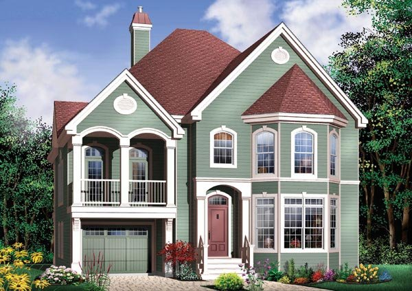 Victorian House Plan 65358 with 3 Beds, 3 Baths, 2 Car Garage Elevation