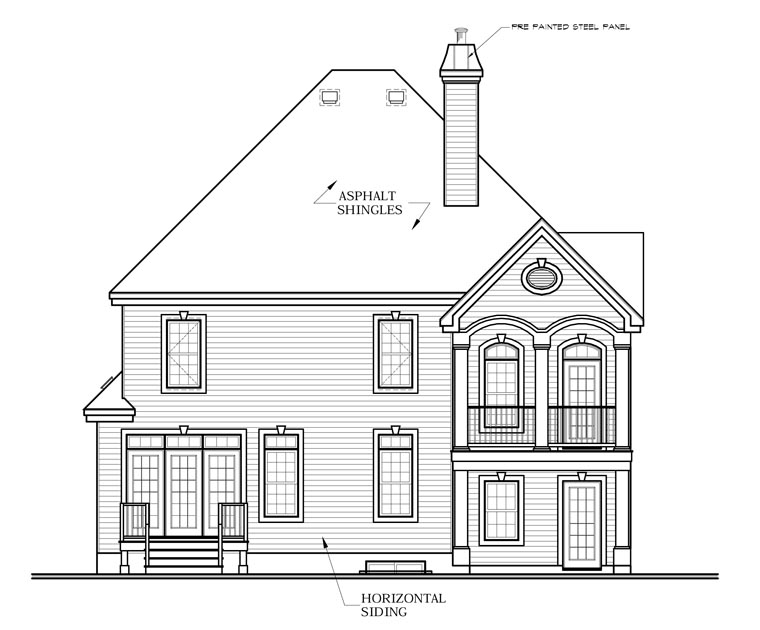 Victorian House Plan 65358 with 3 Beds, 3 Baths, 2 Car Garage Rear Elevation