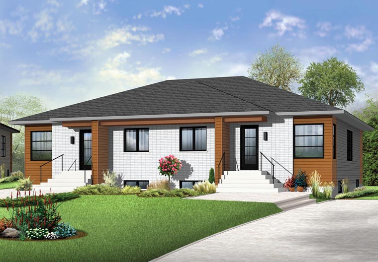 Multi family plan 65384 at for Semi duplex house plans