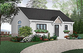 Cape Cod , Cabin House Plan 65386 with 1 Beds, 1 Baths Elevation