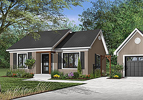 Ranch House Plan 65387 with 2 Beds, 1 Baths Elevation